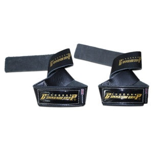 Black/Gold Commando Camp Leather Weight Lifting Straps