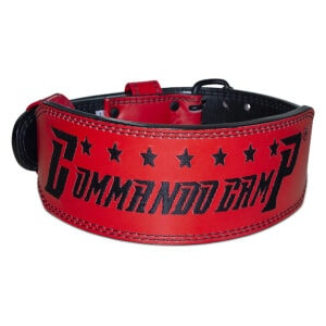 Red & Black Commando Camp Leather Weight Lifting Belt