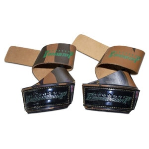 Camo Green Commando Camp Leather Weight Lifting Straps