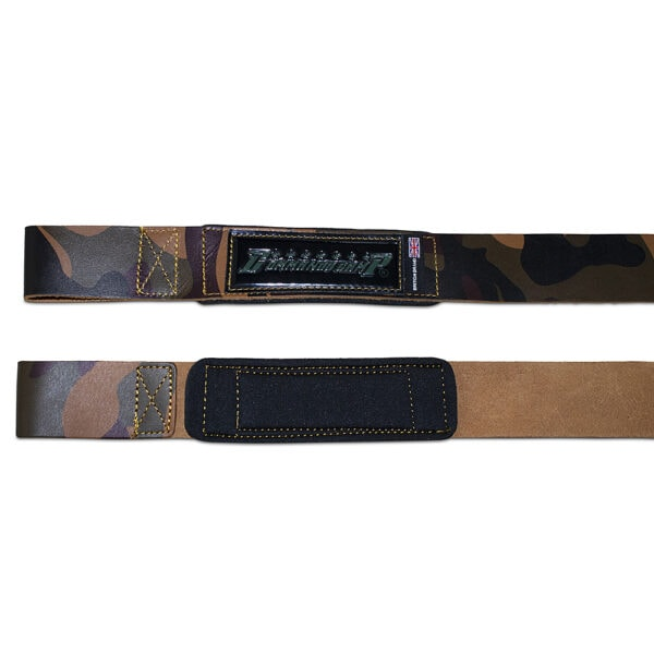 Black/Silver Commando Camp Leather Weight Lifting Straps